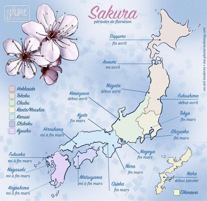 Calendrier des périodes de floraisons des cerisiers au Japon